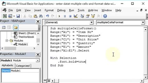 enter data and format multiple excel worksheet cells with vba youtube