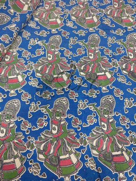 printing on cotton fabric kathakali dancer design kalamkari screen print cotton fabric by meter