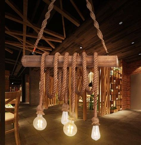 plafonnier cuisine led luminaire suspendu vintage bois corde beige e27 myplanetled