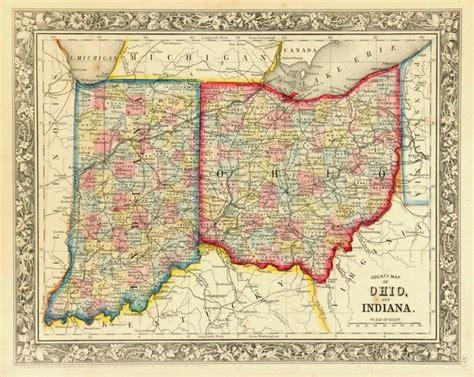 consignment original antique map  ohio indiana
