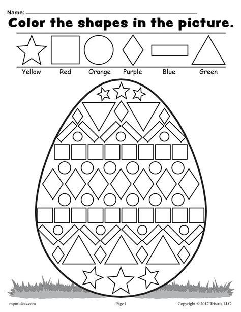 free easter egg shapes worksheet coloring page supplyme