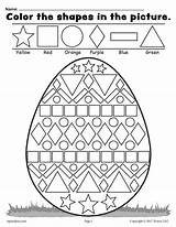 Easter Shapes Egg Worksheet Coloring Printable Completed Example sketch template