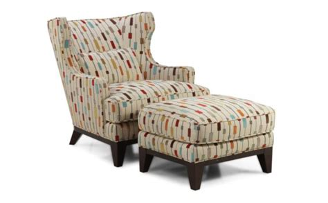 wingback accent chair and ottoman with attractive pattern