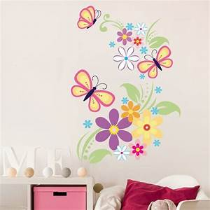 butterfly flower girls wall sticker girls wall decals by With girls wall decals