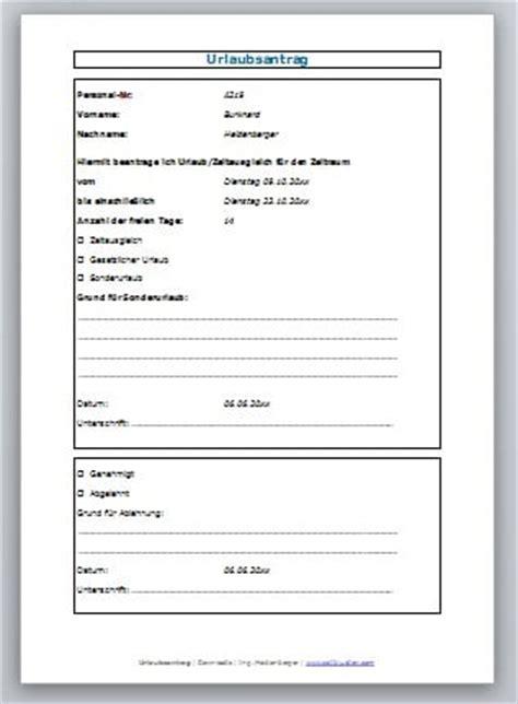 urlaubsantrag formular zum