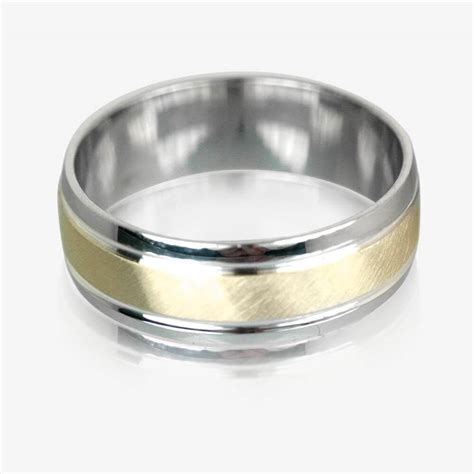 9ct gold sterling silver luxury weight mens wedding ring 7mm