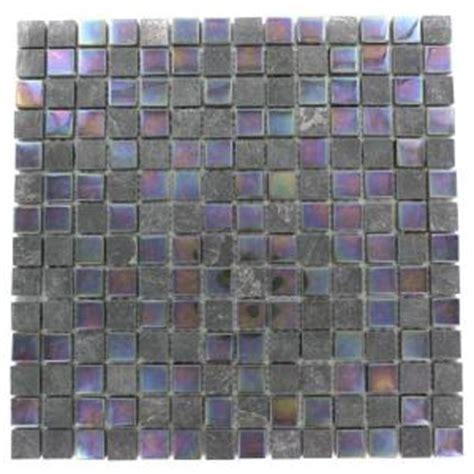 splashback tile tectonic squares black slate and rainbow