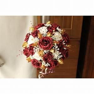 Bouquet De La Mariée : bouquet mari e rond fleurs th me roses bordeaux et or ~ Melissatoandfro.com Idées de Décoration