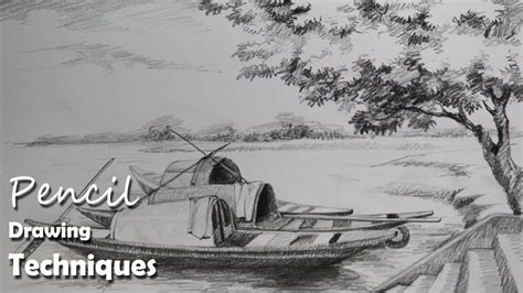 Village Boat Drawing by Pencil Drawing Tutorial How To Draw Boats A Riverside