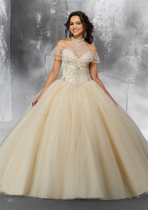 crystal beaded embroidery   tulle ballgown  cold