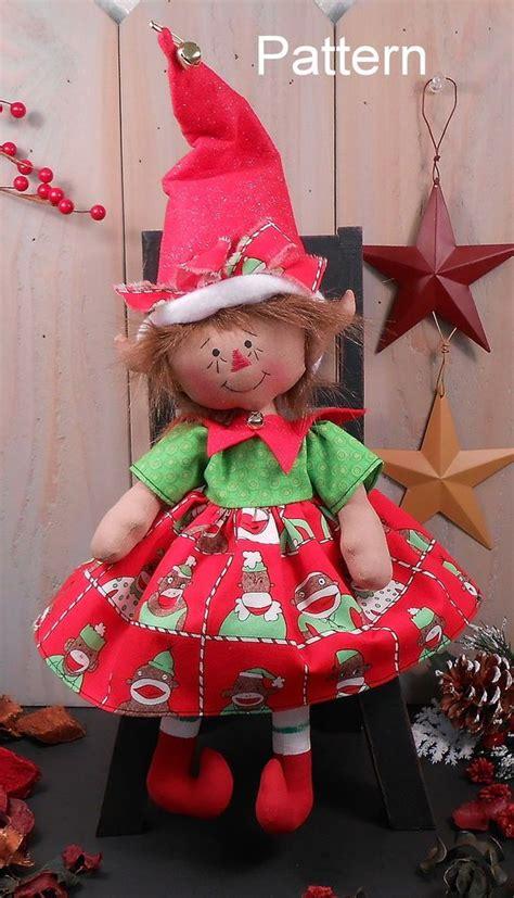 pattern christmas raggedy baby girl elf cloth doll