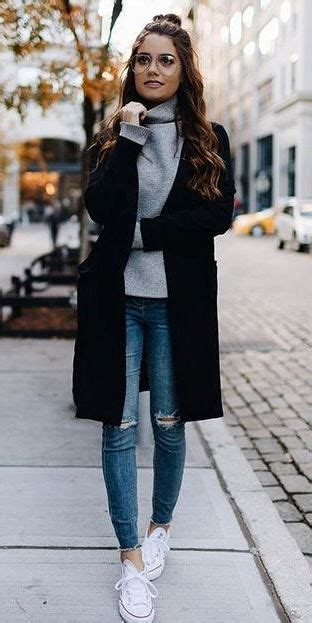 Trendy Outfit Idea Black Coat Sweater Rips