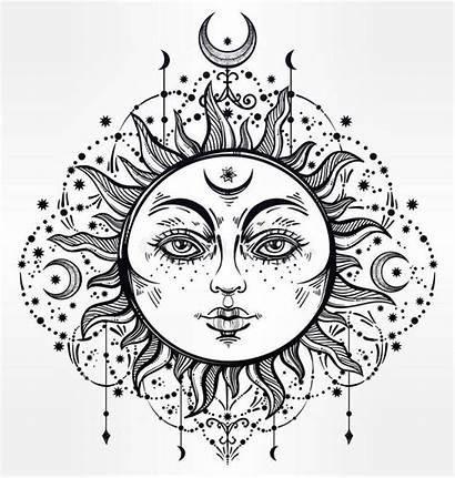 Sun Moon Bohemian Outline Drawing Coloring Drawings