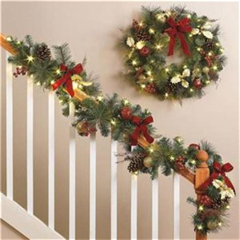 cordless lighted pre lit led wreath garland set indoor