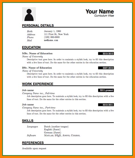 Resume Format In Word by 5 Cv Format Ms Word File Theorynpractice