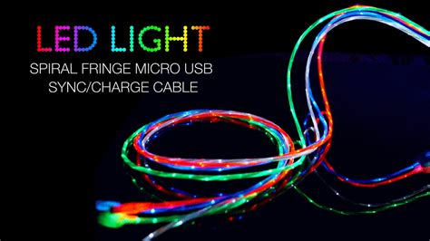 led light usb connector micro usb sync charge cable