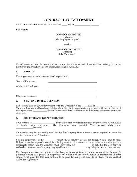 UK Employment Contract Form | Legal Forms and Business Templates | MegaDox.com