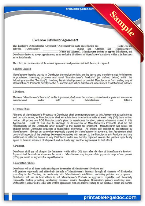exclusivity contract template free printable distributor agreement exclusive form generic