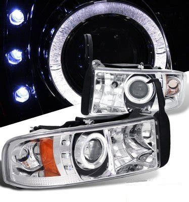 Dodge Ram 1994 2001 Clear Halo Projector Headlights with