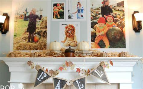 Fall Mantel Decor With Giant Fall Photos!