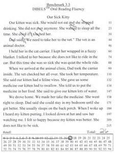 1st Grade DIBELS Reading Fluency Passages