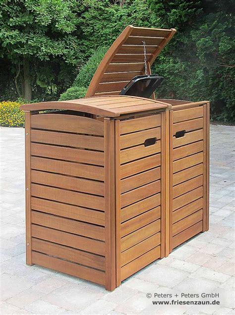 muelltonnenbox classic aus fsc hartholz fuer