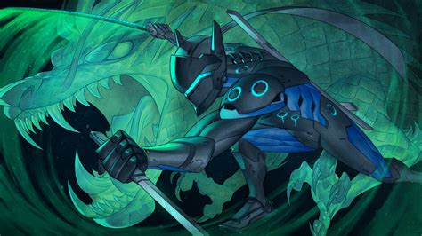 Genji Animated Wallpaper - overwatch anniversary carbon fiber genji by nakanoart on