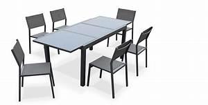Table De Jardin Grise : salon de jardin 6 chaises table rallonge extensible 150 ~ Dailycaller-alerts.com Idées de Décoration