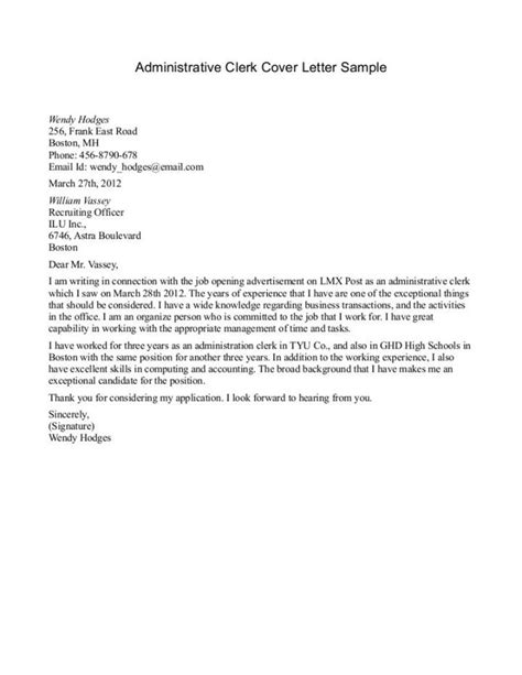 sle cover letter templates for clerical letter