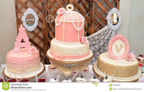 luxury baby girl birthday cake stock photo image