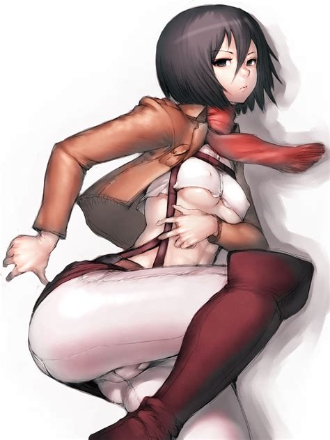 rule 34 1girl abs attack on titan black eyes black hair boots breasts cameltoe erect nipples
