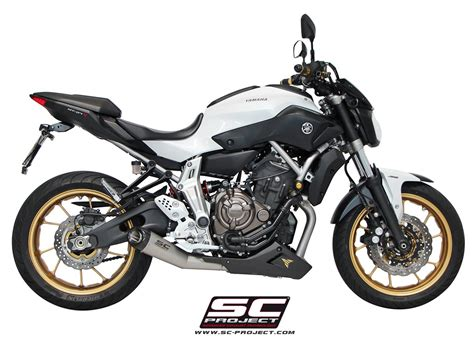 yamaha mt 07 sc project sc project exhaust yamaha mt 07 system 2 1 matte grey conic silencer