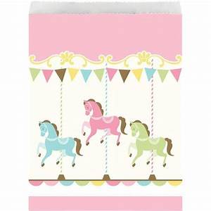 Carousel Baby Shower Party Paper Treat Bags - Fun Party