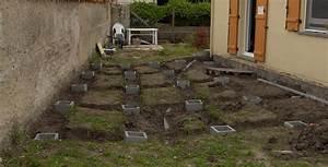 plan terrasse bois sur plot beton evtod With plot en beton pour terrasse
