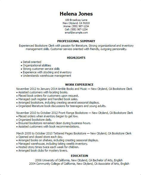 Inventory Clerk Resume by Professional Bookstore Clerk Templates To Showcase Your Talent Myperfectresume