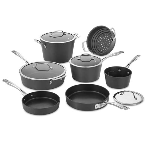 cookware anodized cuisinart hard conical induction piece non aluminum 62i stick stove glass pots ready gas electric medium pans classis