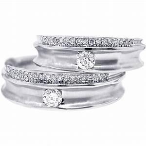 diamond wedding rings set for him her 18k white gold 053 ct With white gold wedding rings for him