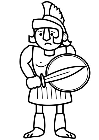 cartoon ancient greek soldier coloring page
