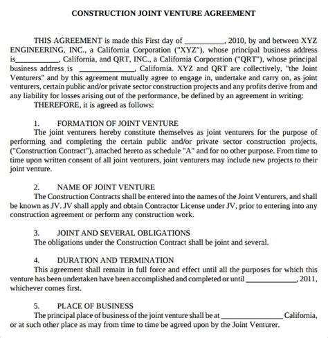 free 9 joint venture templates in doc