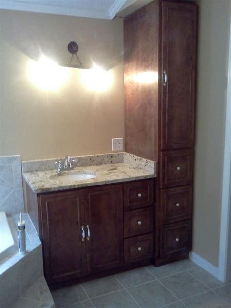 vanity and linen cabinet bathroom ideas