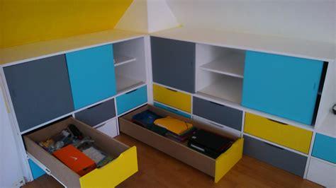 meuble bas cuisine avec plan de travail rangements en soupente chambre d enfant brodie agencement