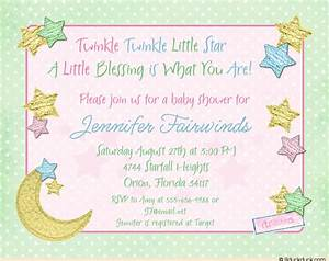 Twinkle Twinkle Little Star Baby Shower Invitation, Moon