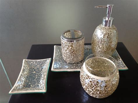 Black Crackle Glass Bathroom Accessories by Bright Black Mosaic Crackle Glass Bathroom Accessory Set