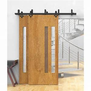 winsoon 5 16ft bypass sliding barn door hardware double With barn door track only