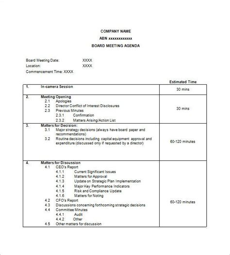 simple agenda template   word excel  format