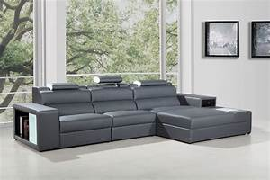 polaris mini contemporary grey bonded leather sectional sofa With grey sectional sofas