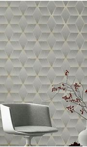 Geo Cube 3D Effect Grey Wallpaper