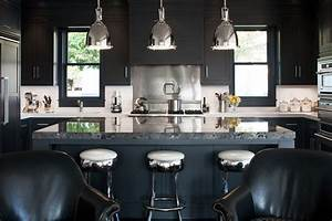 20 black kitchens that will change your mind about using for Kitchen colors with white cabinets with nyc skyline wall art