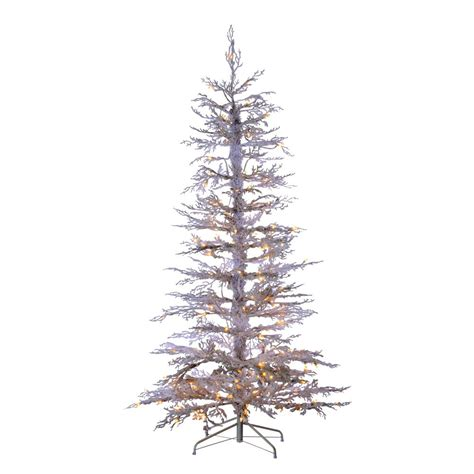 sterling nine foot flocked led trees sterling 6 5 ft indoor pre lit flocked white twig artificial tree with 200 clear