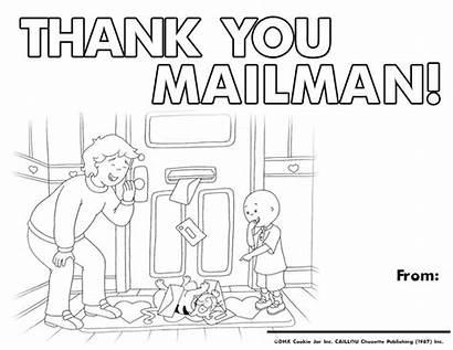 Coloring Sheet Mailman Thank Caillou Sheets Mailmen